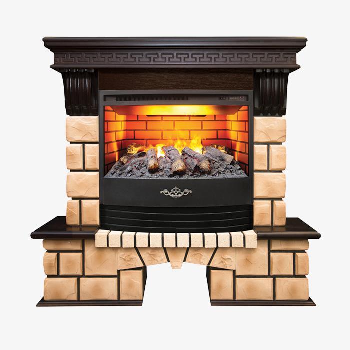 Электрокамин Stone Brick - с очагом FireStar 25,5 3D